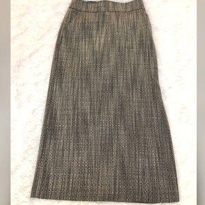 J. Crew Grey Long Midi Tweed Wool Skirt-Size 6